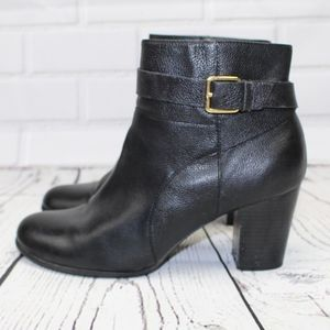 Cole Haan Grando Black Leather Heel Ankle Boots 9